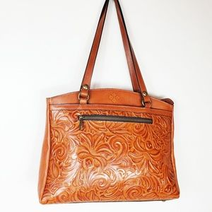 Patrica Nash Poppy Gold Embossed Floral Tote NWT